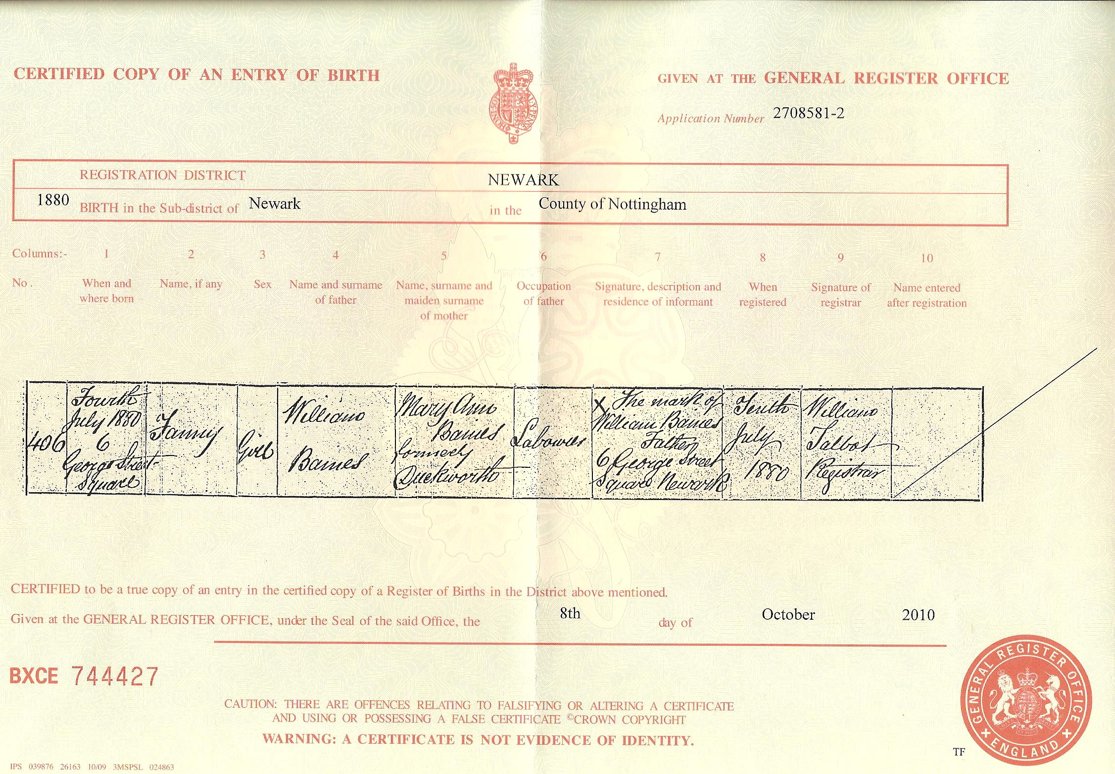 Documents Fanny Baines Birth Certificate 1880 Hamilton Family